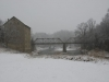 bridge, snow, looking downstream
