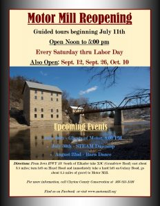 Mill To Reopen For Saturday Tours.